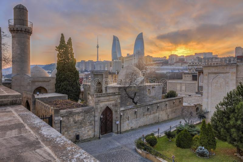 Panoramic view of Baku city, capital of Azerbaijan stock photography
