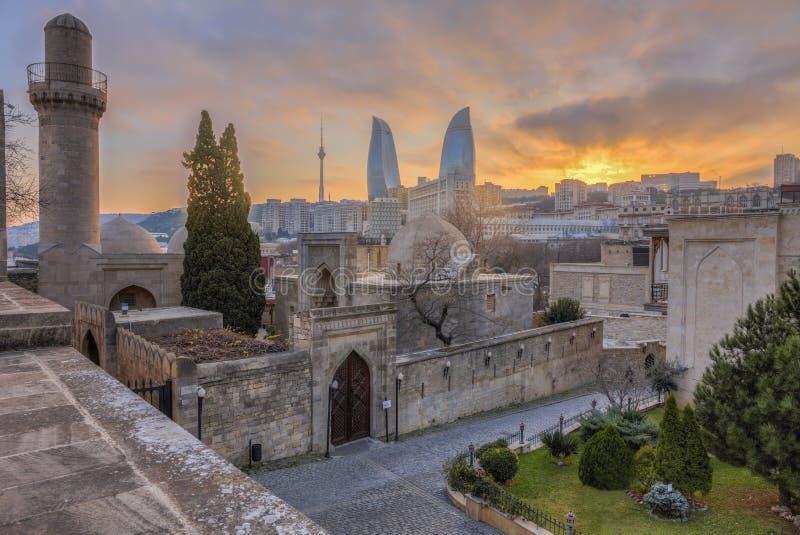 Panoramic view of Baku city, capital of Azerbaijan royalty free stock photos