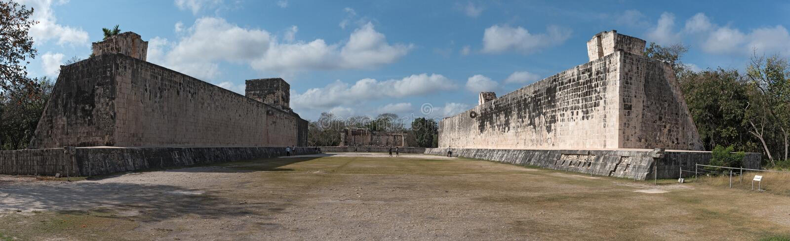 Panoramic view of ball court at Chichen Itza, Yucatan, Mexico royalty free stock image