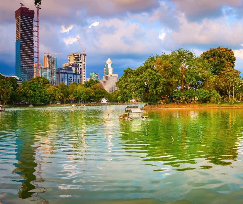 Panoramic view of Bangkok skyline. Lumphini park, Thailand. Panorama stock photography