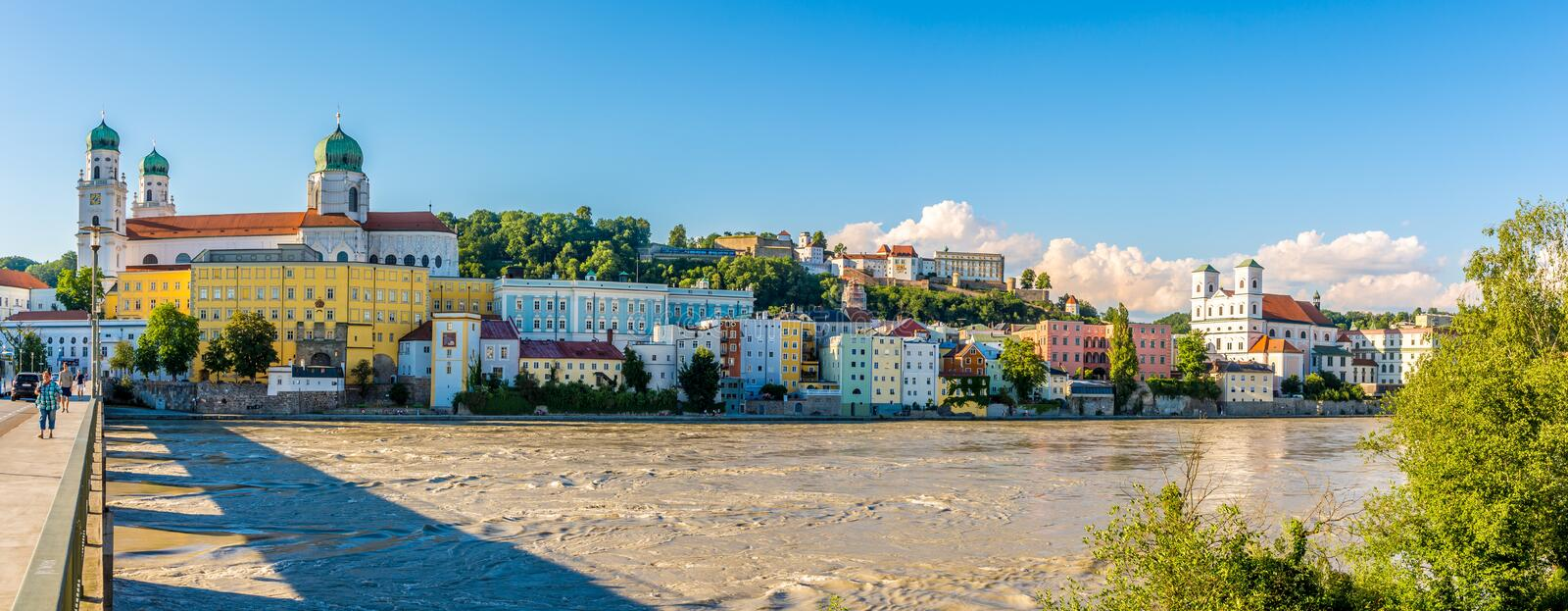 Panoramic view at the Bank of Inn river in Passau - Germany stock photos
