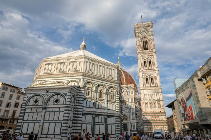 Panoramic view of Baptistery of Saint John, Cattedrale di Santa Maria del Fio royalty free stock photos