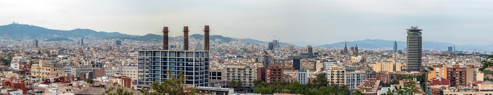 Panoramic view of Barcelona city skyline seen from Montjuic Castle. royalty free stock image
