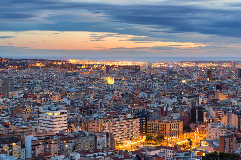 Panoramic view of Barcelona at dawn, Spain royalty free stock images