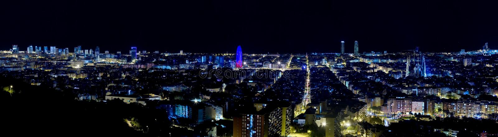 Panoramic view of Barcelona by night. Very large and very detailed panoramic view of barcelona by night stock photography