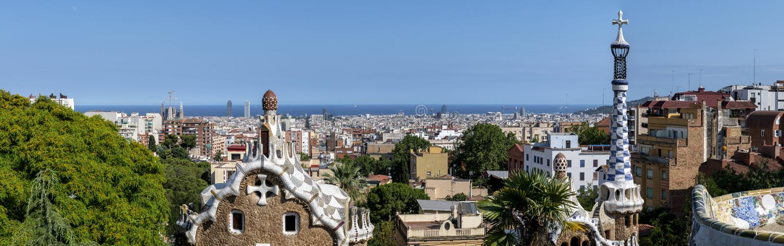 Panoramic View of Barcelona. From the top of Park Guell, Spain royalty free stock photography
