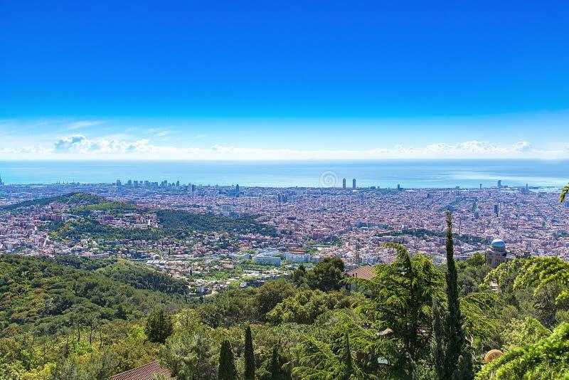 Panoramic view of Barcelona, Spain. stock photo