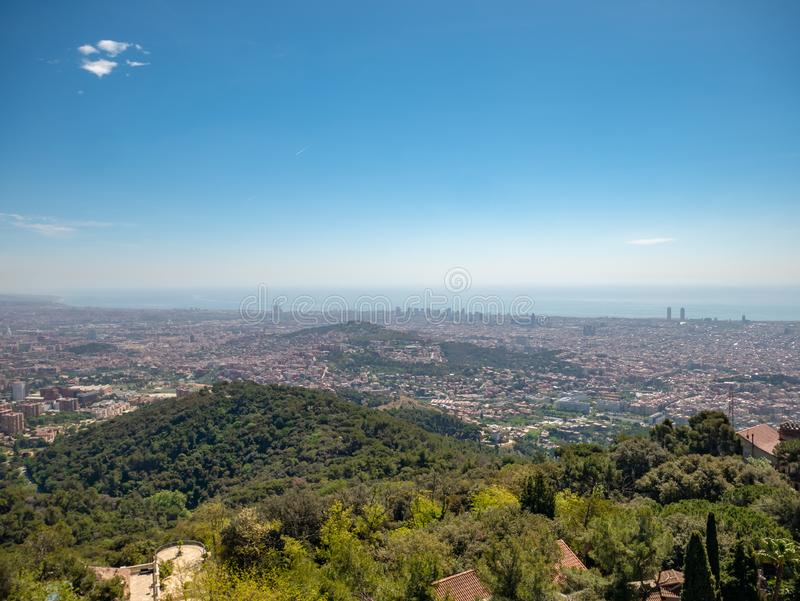 Panoramic view of Barcelona from Tibidabo royalty free stock images