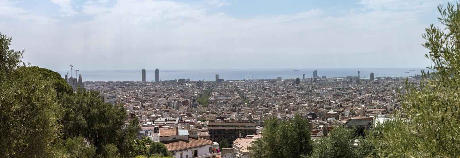 Panoramic view of Barcelona. From the top of Park Guell royalty free stock images
