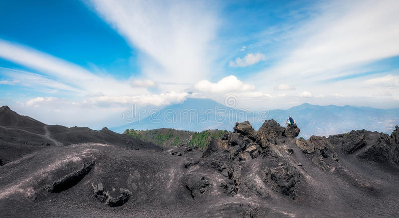 Panoramic View from the base of Volcano Pacaya, Guatemala stock images
