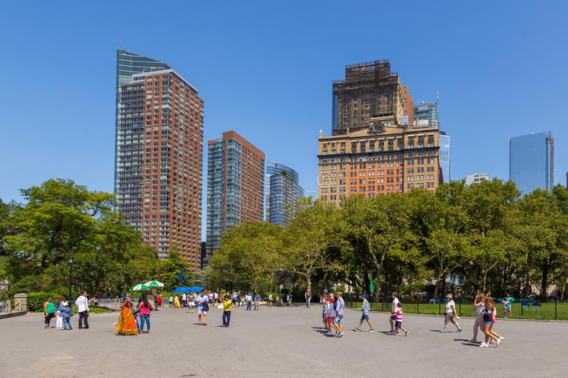 Panoramic view from Battery Park on skyscraper lower Manhattan skyline in New York City. stock photo