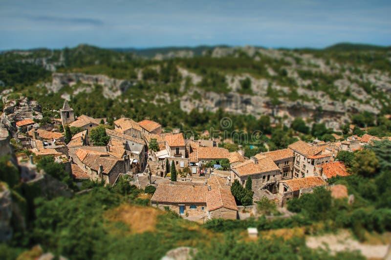Panoramic view of the Baux-de-Provence castle ruins on the hill. Panoramic view of the Baux-de-Provence castle ruins on the hill, with the roofs of the village stock images