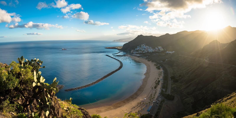 Panoramic view of beach las Teresitas Tenerife. Panoramic view of beach las Teresitas with yellow sand. Location: Santa Cruz de Tenerife, Tenerife, Canary stock photos