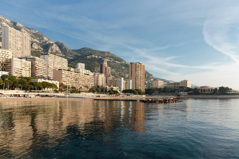Panoramic view of the beach in Monte Carlo, Monaco. Principality. MONACO - NOVEMBER 2, 2014: Panoramic view of the beach in Monte Carlo, Monaco. Principality of royalty free stock photo