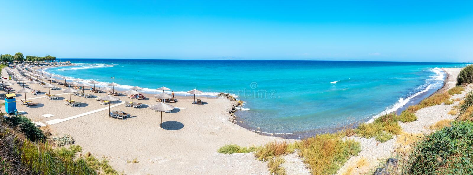 Panoramic view of beach near ancient city of Kamiros Rhodes, Greece royalty free stock photos