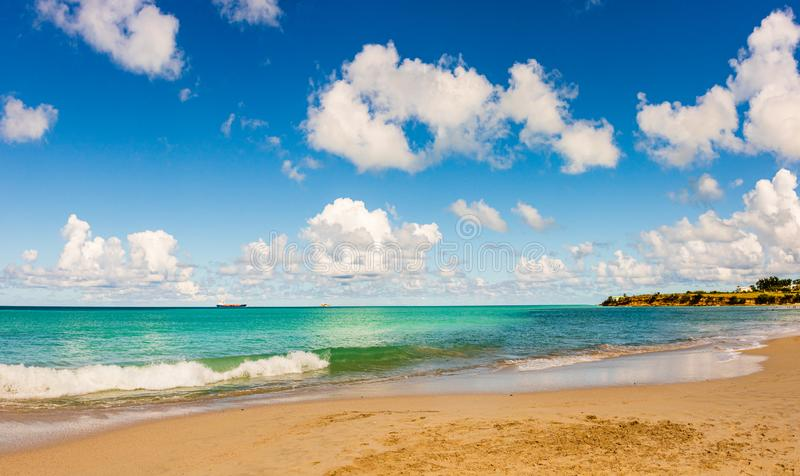 Panoramic view of the beach in St. John`s, Antigua and Barbuda, a country located in the West Indies in the Caribbean Sea stock photography