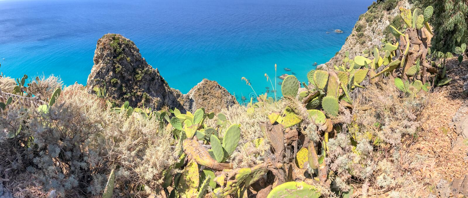 Panoramic view of beautiful coastline in Southern Italy, summer stock photography