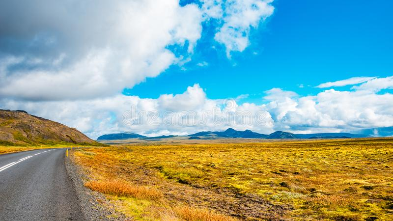 Panoramic view of beautiful colorful Icelandic landscape, Iceland, freedom to ride stock images