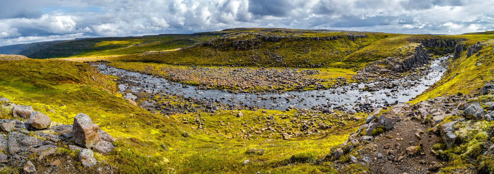 Panoramic view of beautiful colorful Icelandic landscape, Icelan royalty free stock photography