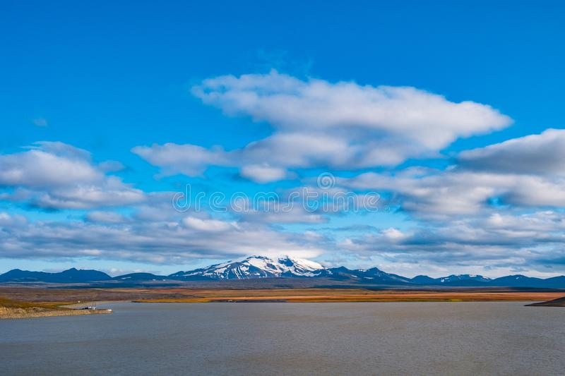 Panoramic view of beautiful colorful Icelandic landscape, Snaefells peak, Iceland royalty free stock photo