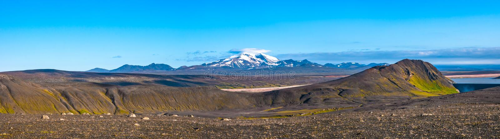 Panoramic view of beautiful colorful Icelandic landscape, Snaefells peak, Iceland royalty free stock photography