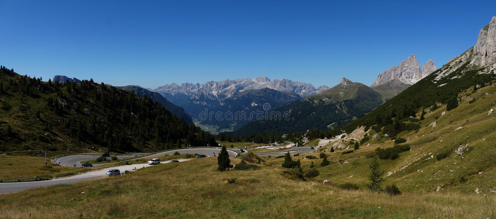 Panoramic view of beautiful dolomite mountain scenery in south tyrol / Pordoi road Pass royalty free stock image