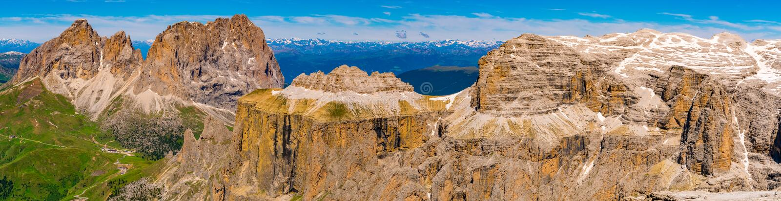 Panoramic view of the beautiful Dolomites mountain royalty free stock image