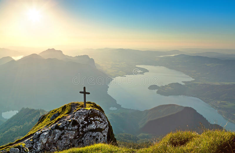 Panoramic view of beautiful landscape with Mondsee lake at sunset from Schafberg mountain in Salzkammergut, Austria royalty free stock image