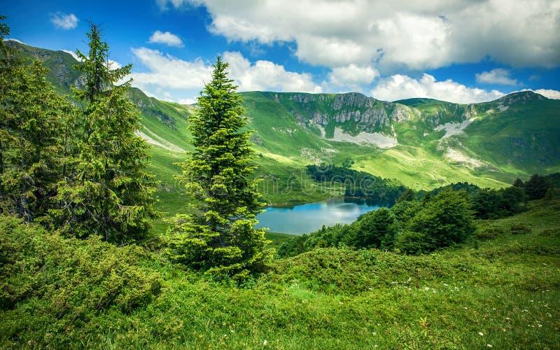Panoramic view of beautiful mountain range with crystal clear lake. Panoramic view of beautiful mountain range with crystal clear turquoise lake. Pesica lake royalty free stock photos