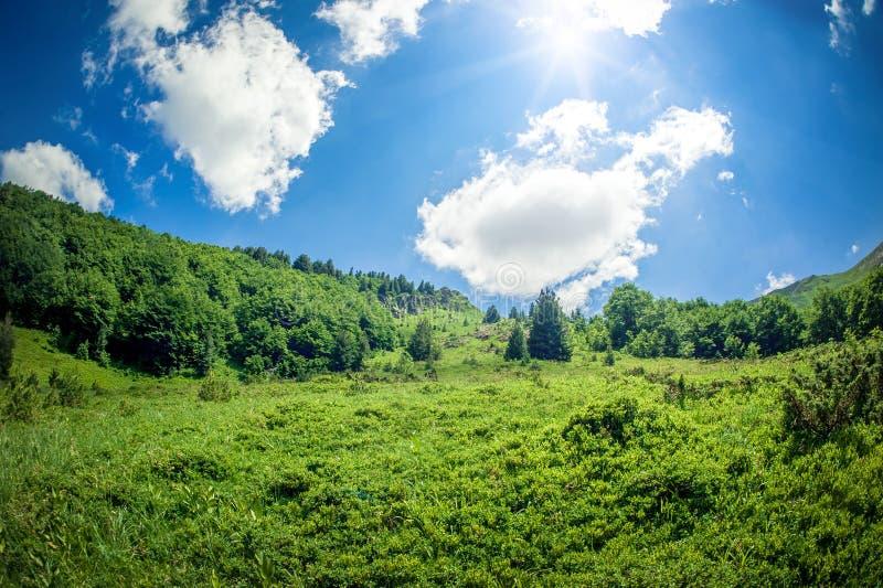Panoramic view of beautiful mountain range with dynamic sky. Bjelasica, Montenegro stock image