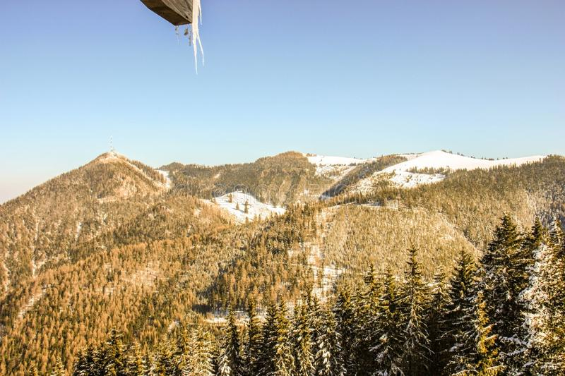Panoramic view of beautiful winter wonderland mountain scenery in the austrian Alps. Mountains ski resort Semmering - nature and s royalty free stock photos