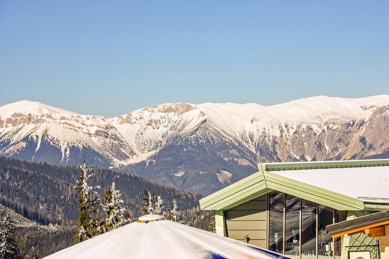 Panoramic view of beautiful winter wonderland mountain scenery in the austrian Alps. Mountains ski resort Semmering - nature backg stock photography