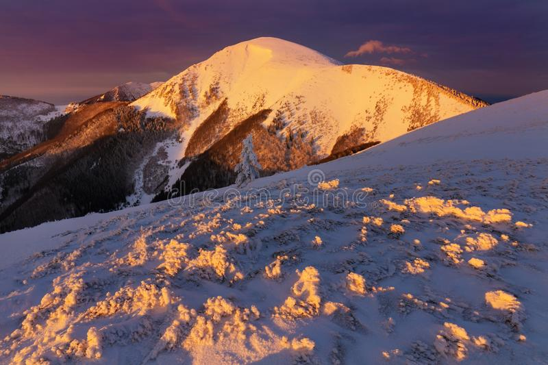 Panoramic view of beautiful winter wonderland mountain scenery in evening light at sunset. Mountains above the clouds. View of the Mala Fatra peaks. Slovakia stock photo