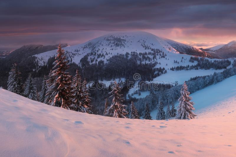 Panoramic view of beautiful winter wonderland mountain scenery in evening light at sunset. Mountains above the clouds. Christmas. Panoramic view of beautiful stock photo