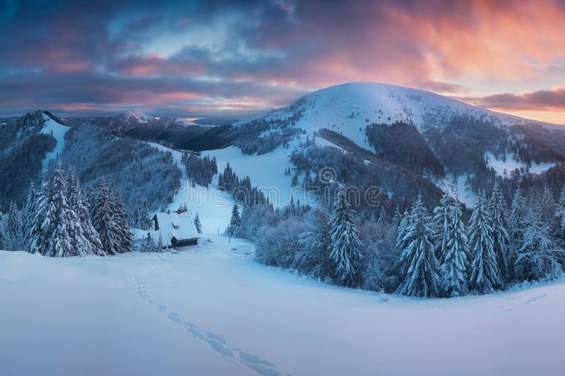 Panoramic view of beautiful winter wonderland mountain scenery in evening light at sunset. Mountains above the clouds. Christmas. Panoramic view of beautiful stock photography