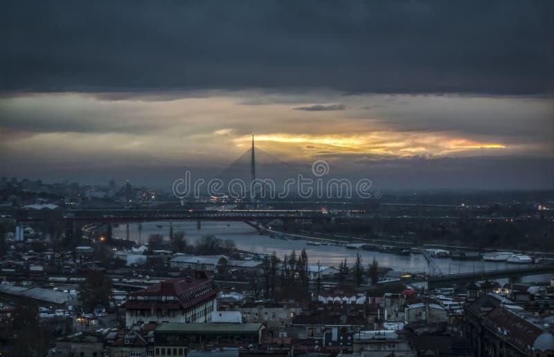 Panoramic view of Belgrade bridges royalty free stock photo