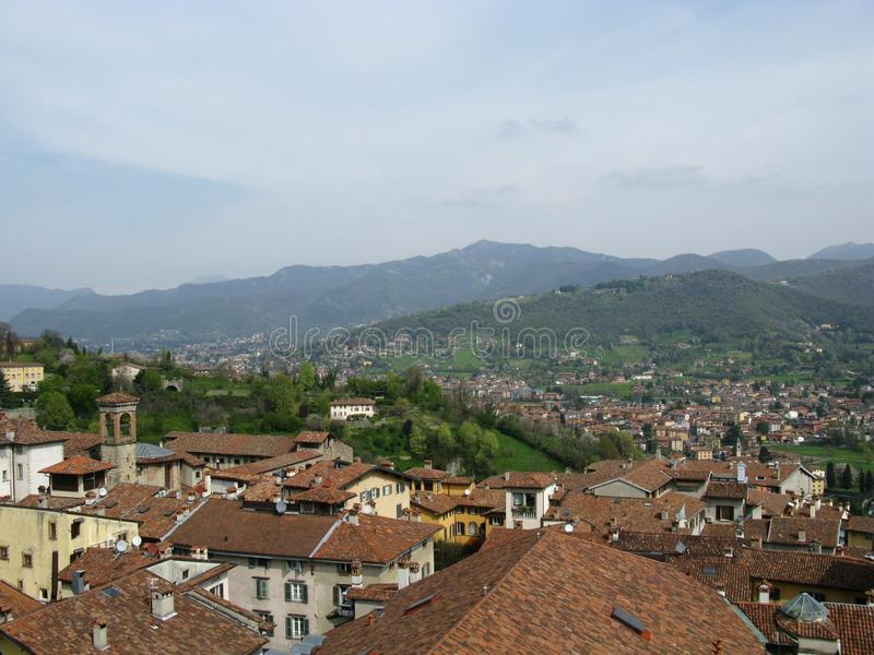 Panoramic view of Bergamo in Lombardy in Italy royalty free stock photography