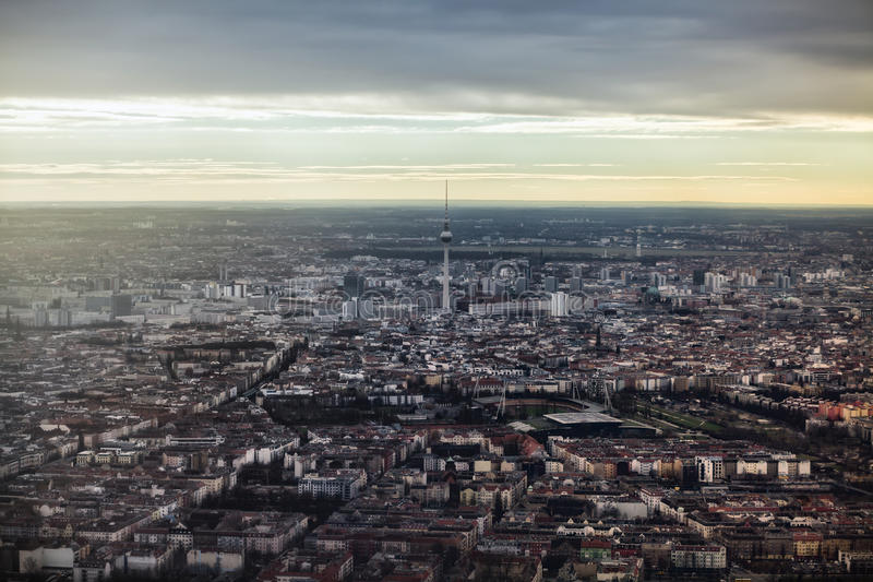 Panoramic view of Berlin TV Tower royalty free stock photography