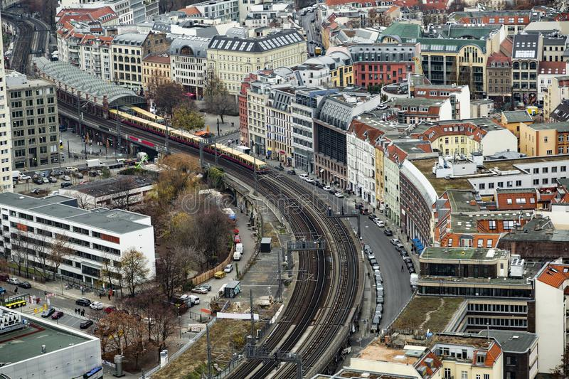 Panoramic view of Berliner railway station with train royalty free stock image