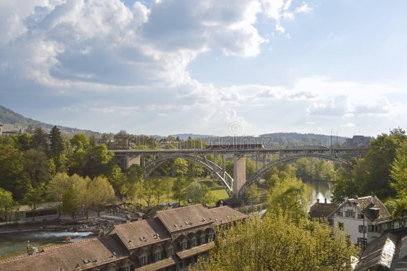 Panoramic view of Bern and his train, Switzerland, Europe royalty free stock photo