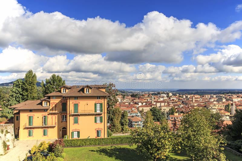 Panoramic view of Biella from the Piazzo: the old part of the city. Panoramic view of Biella from the Piazzo: the old part of the city stock photos