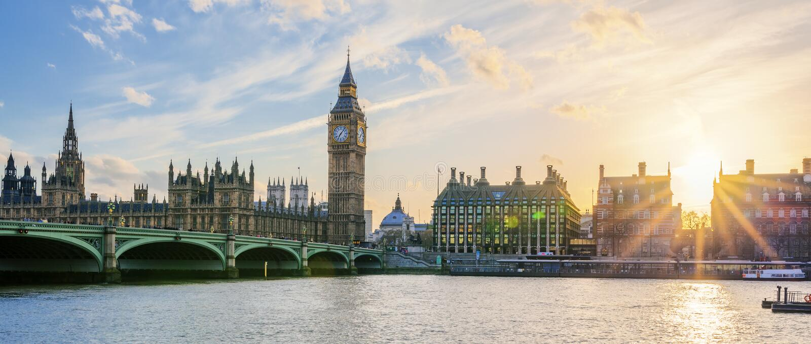 Panoramic view of Big Ben clock tower in London at sunset. UK royalty free stock photo