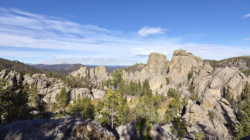Panoramic view of Black Hills National Forest landscape, USA. Panoramic view of Black Hills National Forest landscape, South Dakota, USA royalty free stock image