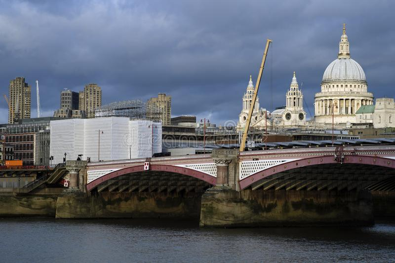 panoramic view with Blackfriars bridge over Thames river in uk royalty free stock photos