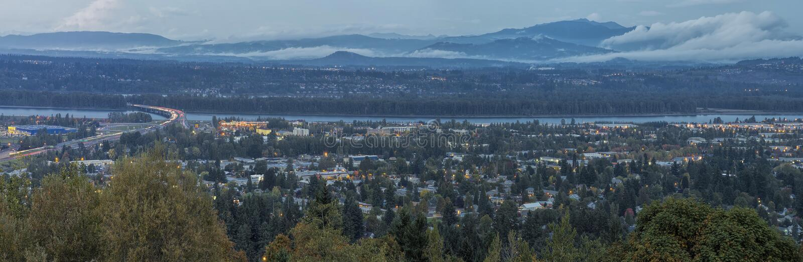 Panoramic View of Blue Hour Oregon Washington States. Panoramic View of Oregon and Washington States Divided by Columbia River at Evening Blue Hour stock images