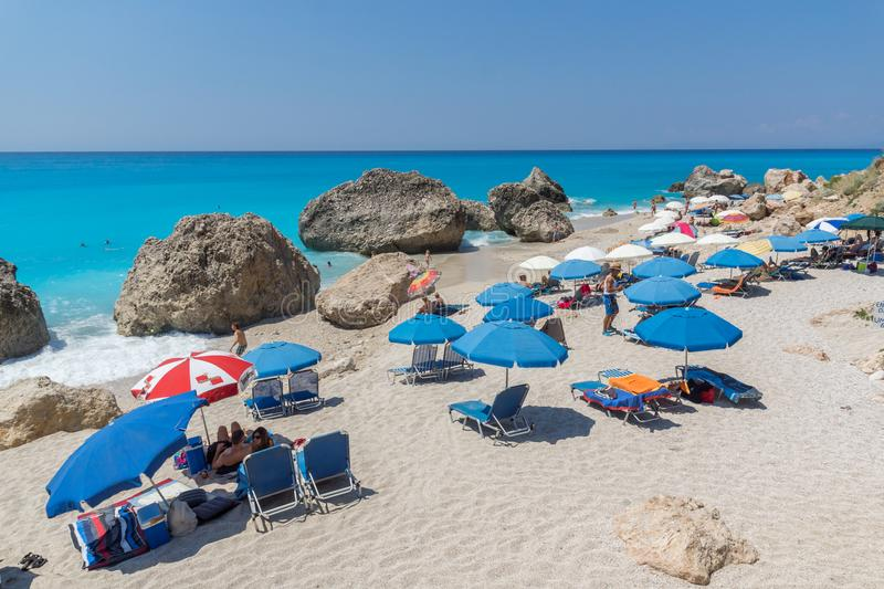 Panoramic view of blue waters of Megali Petra Beach, Lefkada, Ionian Islands, royalty free stock images