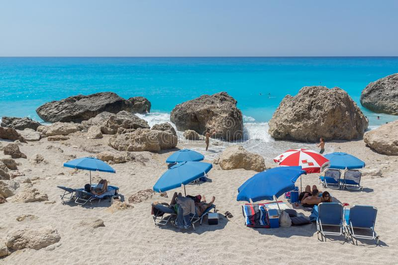Panoramic view of blue waters of Megali Petra Beach, Lefkada, Ionian Islands, stock images