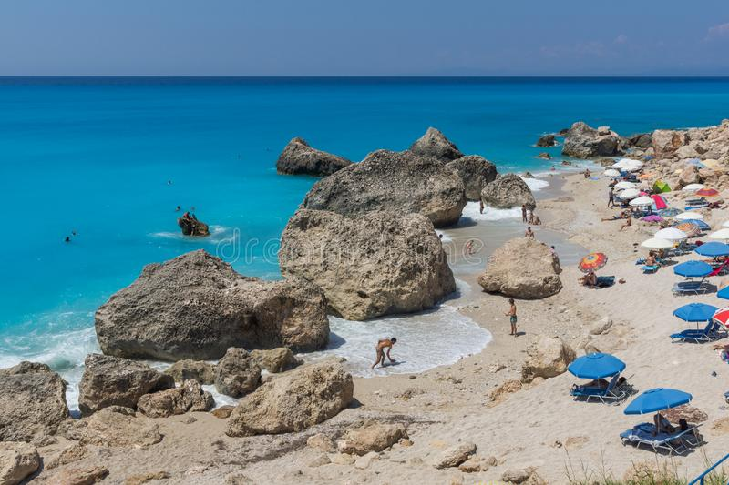 Panoramic view of blue waters of Megali Petra Beach, Lefkada, Ionian Islands, stock image