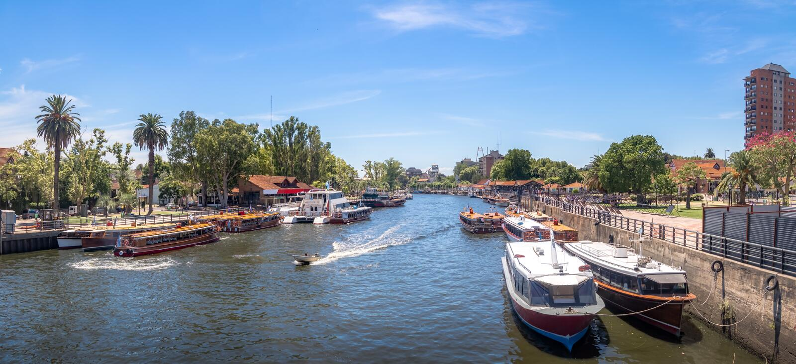 Panoramic view of Boats at Tigre River - Tigre, Buenos Aires, Argentina. Panoramic view of Boats at Tigre River in Tigre, Buenos Aires, Argentina royalty free stock photos