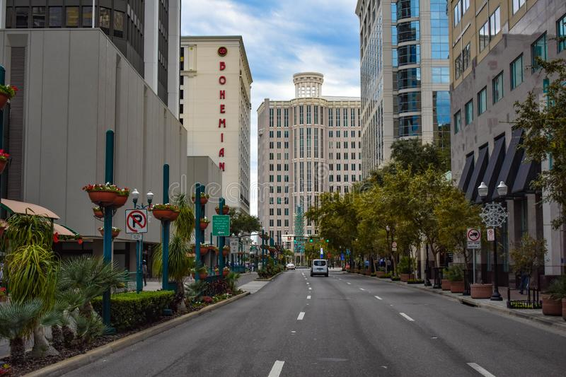 Panoramic view of Bohemian Hotel and City Hall in Orange Aveneu at Orlando Downtown area 3 stock images